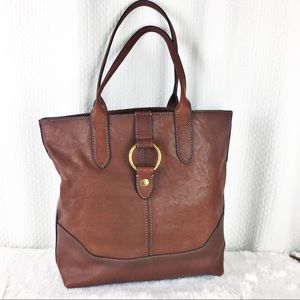 Frye Leather Ring Tote Cognac NWT Magnetic Close